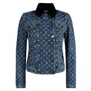 Louis Vuitton Indigo Monogrammed Denim Velvet Collar Detail Jacket S