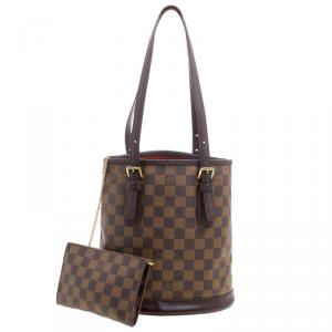 Louis Vuitton Damier Ebene Marais Bucket Bag w/ Accessory Pochette