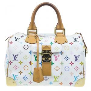 حقيبة لوي فيتون سبيدي 30 كانفاس أبيض مونوغرام متعدد الألوان