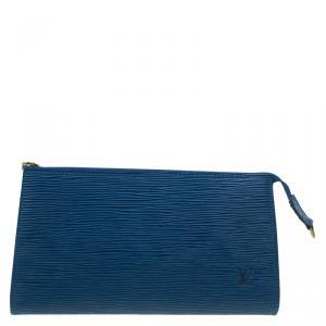 حقيبة اكسسوارات صغيرة لوي فيتون جلد أيبي زرقاء