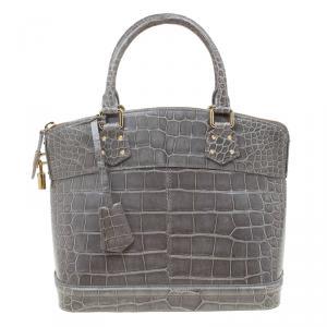 Louis Vuitton Grey Crocodile Limited Edition Lockit PM Bag
