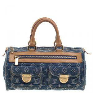 حقيبة لوي فيتون نوي سبيدي دنيم مونوغرامي زرقاء