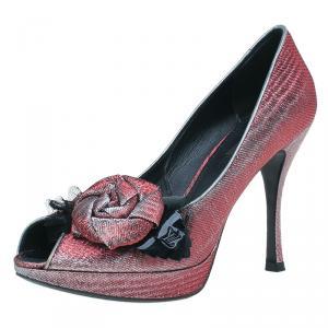 Louis Vuitton Pink Satin Moir Galourize Me Peep Toe Pumps Size 37.5