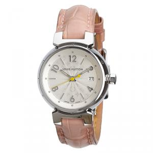 Louis Vuitton Silver Stainless Steel Tambour Women's Wristwatch 28MM