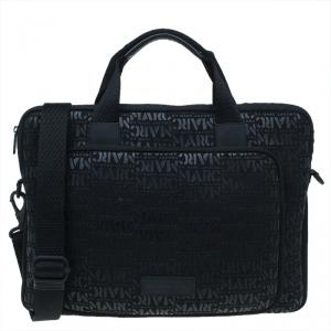 Marc by Marc Jacobs Black Monogram Neoprene and Leather Laptop Bag