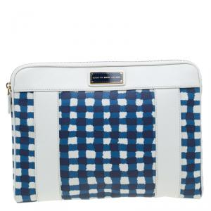 Marc by Marc Jacobs White/Blue Coated Canvas and Leather Notebook Case