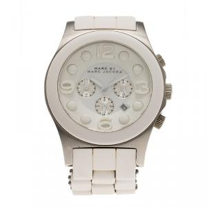 Marc by Marc Jacobs White Stainless Steel and Rubber MBM2565 Women's Wristwatch 42MM