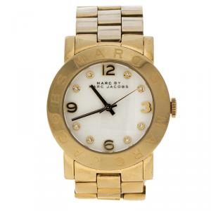 Marc by Marc Jacobs White Gold Tone Stainless Steel MBM3056 Women's Wristwatch 36MM
