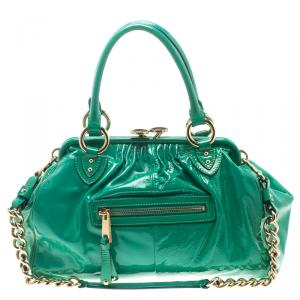 Marc Jacobs Green Patent Leather Stam Satchel