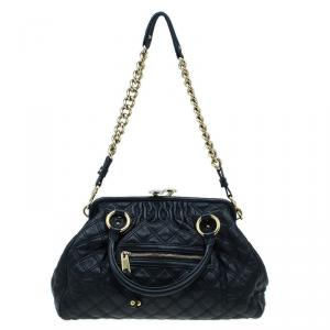 Marc Jacobs Black Quilted Leather Stam Shoulder Bag