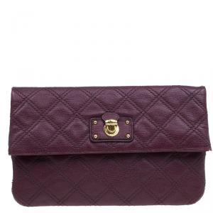 Marc Jacobs Purple Quilted Leather Eugenie Clutch