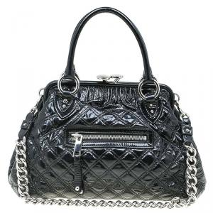 Marc Jacobs Black Quilted Patent Leather Stam Satchel