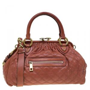 Marc Jacobs Brown Quilted Leather Stam Satchel