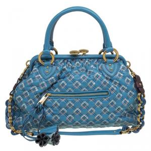 Marc Jacobs Blue Quilted Leather Robert Leslie Stam Satchel