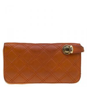 Marc Jacobs Orange Quilted Leather Deluxe Zip Around Wallet