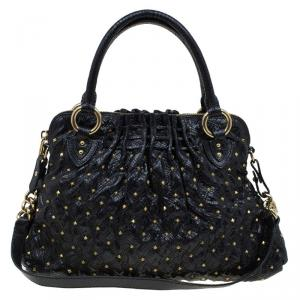 Marc Jacobs Black Embossed Snakeskin Studded Cecilia Satchel