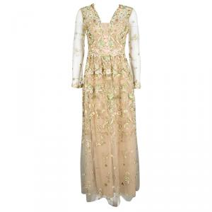 Marchesa Notte Beige Floral Embroidered Long Sleeve Tulle Gown S