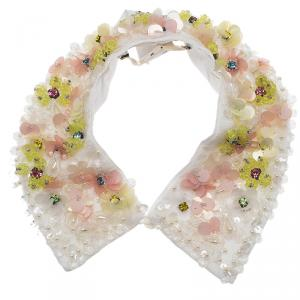 Marni Embellished Embroidery white Cotton Collar Necklace