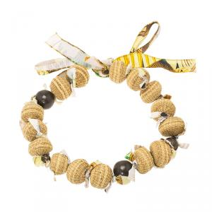 Marni Beige Wood Beads Fabric Tie Ribbon Necklace One Size
