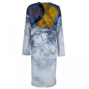Marni Multicolor Abstract Print Poplin Long Sleeve Shift Dress M