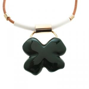 Marni Green Resin Flower Gold Tone Necklace