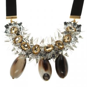 Marni Crystal, Horn and Resin Embellished Statement Necklace