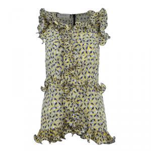 Marni Yellow Ruffle Printed Long Top M