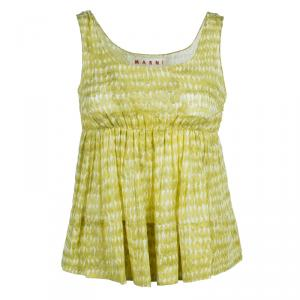 Marni Yellow Cotton Printed Sleeveless Top S