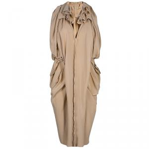 Marni Nude Silk Gathered Sleeveless Dress S