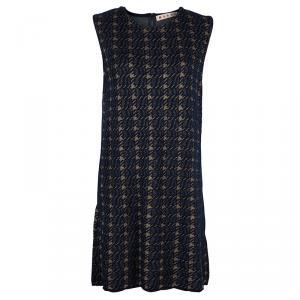 Marni Navy Blue Houndstooth Lurex Wool Sleeveless Dress M