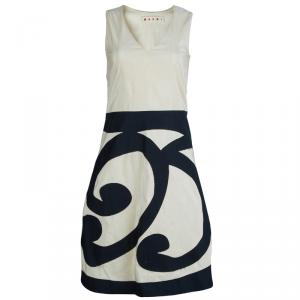 Marni Cream Contrast Applique Detail Sleeveless Dress S