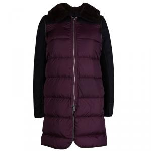 Marni Burgundy Quilted Lamb Shearling Trimmed Jacket S