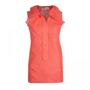 Marni Neon Orange Mesh Draped Collar Detail Sleeveless Top M