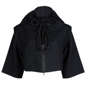 Marni Black Basket Weave Cord Detail Zip Front Cropped Jacket M