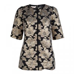 Marni Black Floral Lurex Jacquard Short Sleeve Tunic M