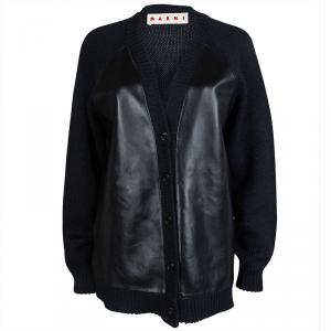 Marni Navy Blue Leather Panel Detail Buttondown Wool Cardigan M