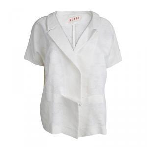 Marni Cream Textured Short Sleeve Open Front Jacket M