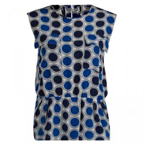 Marni Blue Circular Printed Silk Sleeveless Peplum Top S