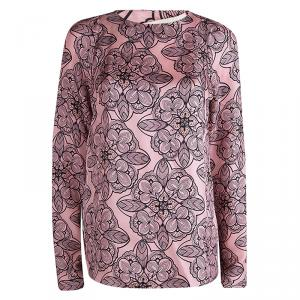 Marni Pink Silk Floral Printed Long Sleeve Blouse M