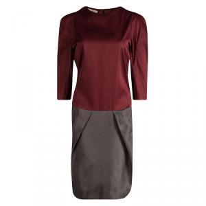 Marni Colorblock Silk Long Sleeve Dress L