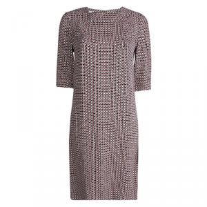 Marni Multicolor Checkered Print Square Neck Shift Dress S