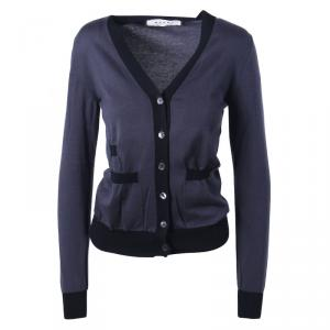 Marni Dark Grey Contrast Trim Knit Cardigan S