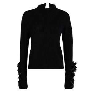 Marni Black Rib Knit Embellished Sleeve Detail Open Back Sweater M