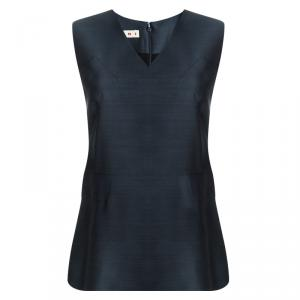 Marni Blue Paneled V-Neck Sleeveless Blouse M
