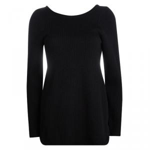 Marni Black Wool Open Back Ribbed Knit Sweater S