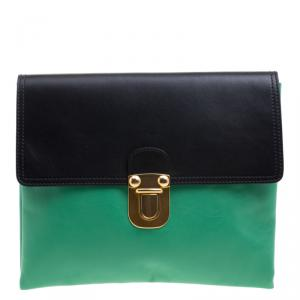 Marni Green/Black Leather Clutch