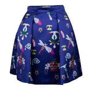 Mary Katrantzou Navy Blue Calculion Skirt S