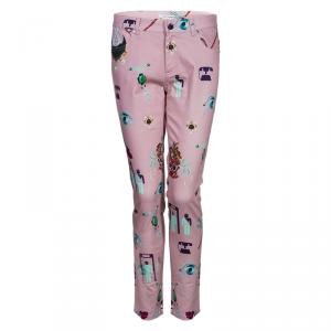 Mary Katrantzou Pink Printed Denim Trousers M