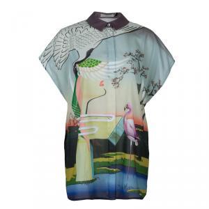 Mary Katrantzou Multicolor Flamingo Print Oversized Cotton Shirt M