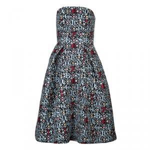 Mary Katrantzou Black Printed Strapless Dress M